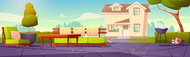 Pancarta con patio trasero de la casa con mesa de sofá y parrilla de cocción para barbacoa