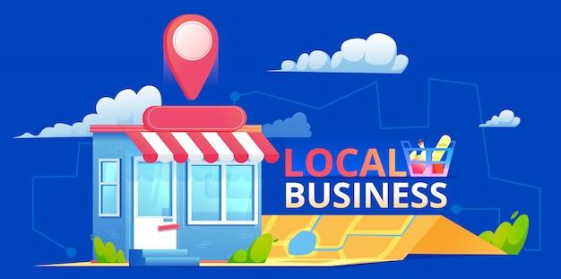 Una pancarta seo local, un mapa y una tienda en una vista realista. ilustración plana