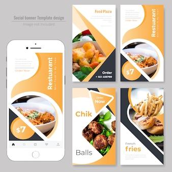 Pancarta social de comida para restaurante.