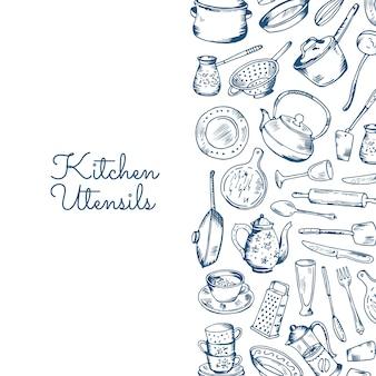 Pancarta con utensilios de cocina con lugar para texto.