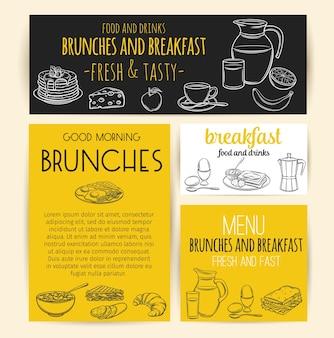 Pancartas de desayuno. grabado de jarra de leche, cafetera, taza, jugo, sándwich y huevos fritos.