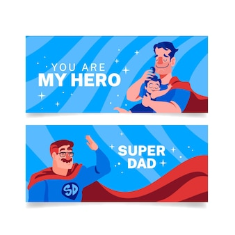 Pancartas del día del padre con papá superhéroe