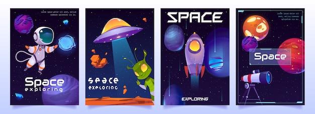 Pancartas de exploración espacial con lindos alienígenas, ovnis, astronautas, planetas, cohetes y lanzaderas