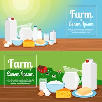 Pancartas de la granja de leche