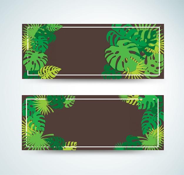 Pancartas de hojas tropicales