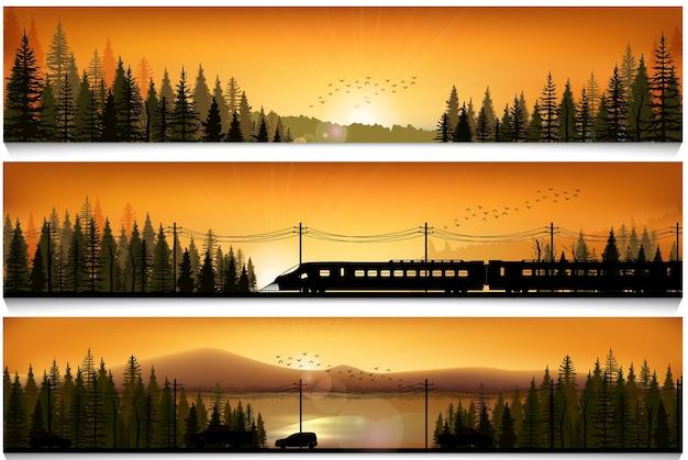 Pancartas horizontales con el tren de alta velocidad y autos o