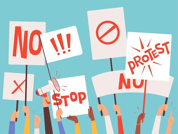 Pancartas de manifestantes. mano sosteniendo carteles en blanco de signos de manifestación política vector concepto de fondo. protesta y manifestante con megáfono, agitación por la ilustración de la libertad