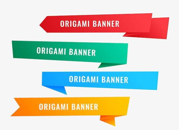 Pancartas de origami ancho en estilo de cinta