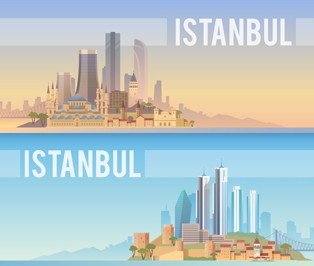 Pancartas del paisaje urbano de estambul.