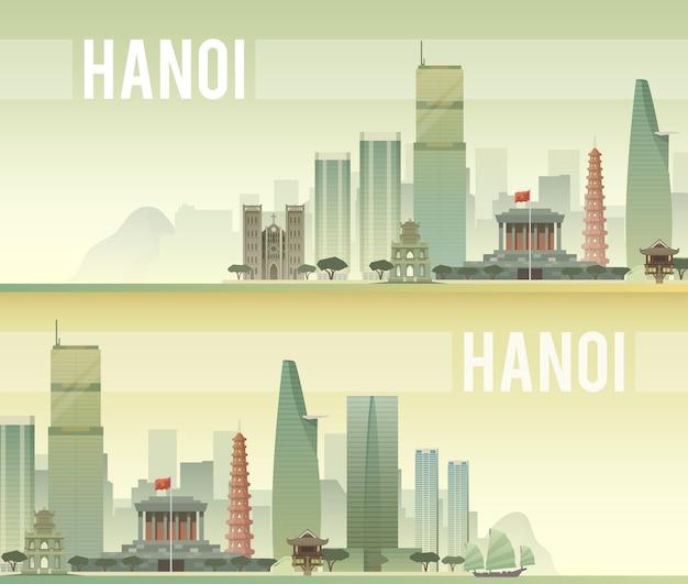 Pancartas del paisaje urbano de hanoi.