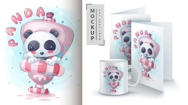 Panda en el baño ilustración y merchandising.