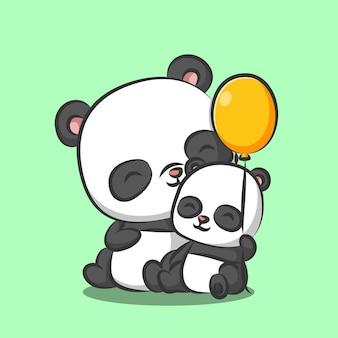 Panda con bebé panda sentados juntos y jugando globo