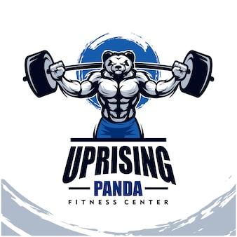 Panda con cuerpo fuerte, gimnasio o logotipo de gimnasio.