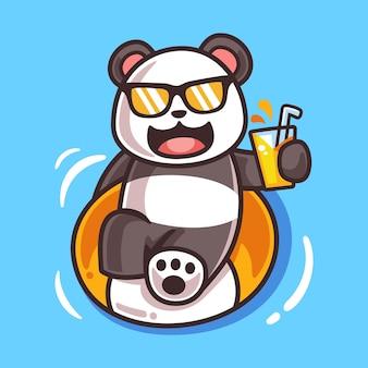 Panda de dibujos animados con ilustración de anillo de natación
