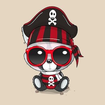 Panda de dibujos animados lindo bebé en traje de pirata