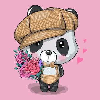Panda de dibujos animados lindo con gorra y flores ilustración vectorial