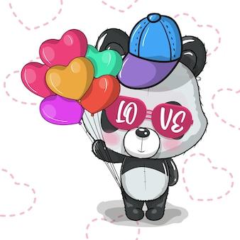 Panda de dibujos animados lindo con ilustración de vector de corazón