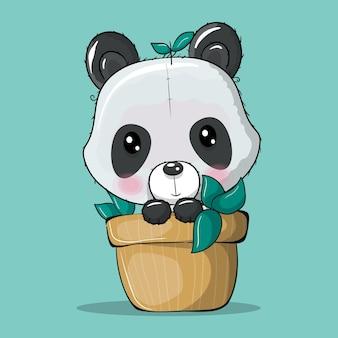 Panda de dibujos animados lindo en una ilustración de vector de planta