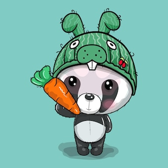 Panda de dibujos animados lindo en la ilustración de vector de tapa de conejo
