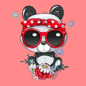 Panda de dibujos animados lindo con pañuelo y gafas ilustración vectorial