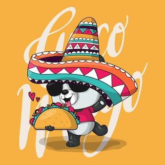 Panda de dibujos animados lindo con sombrero de méxico y tacos. cinco de mayo