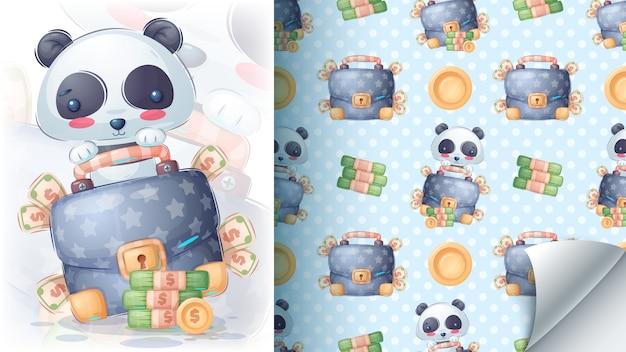 Panda con dinero - patrón transparente