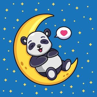 Panda durmiendo en la luna de dibujos animados. ilustración de icono de vector de animal, aislado en vector premium
