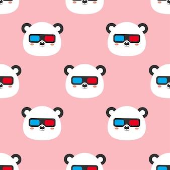 Panda con gafas ilustración de dibujos animados de patrones sin fisuras