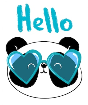 Panda con gafas ilustración vectorial