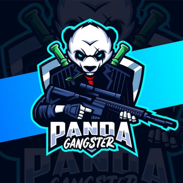 Panda gángster mascota esport logo design