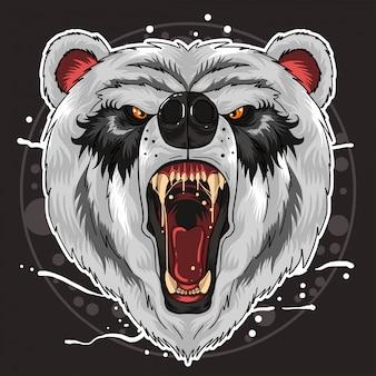 Panda head fierce vector