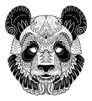 Panda head zentangle