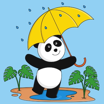 Panda jugando bajo la lluvia.