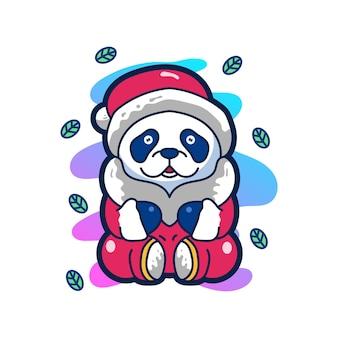 Panda linda ilustración mascota logotipo personaje