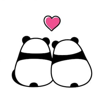 Panda linda pareja enamorada