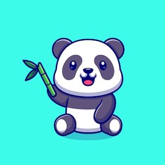 Panda lindo con bambú