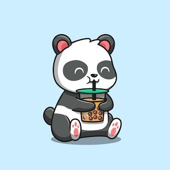 Panda lindo bebiendo té con leche de boba icono de dibujos animados ilustración. concepto de icono de comida animal aislado. estilo de dibujos animados plana