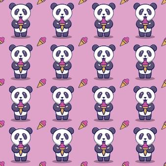 Panda lindo comiendo helado de patrones sin fisuras