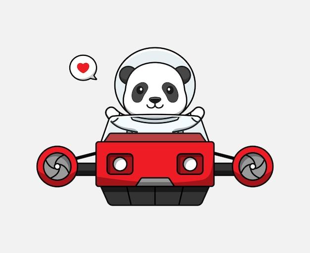 Panda lindo conduciendo un vehículo volador
