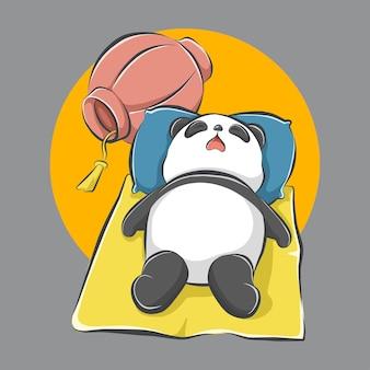 Panda lindo de dibujos animados durmiendo en una estera