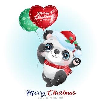 Panda lindo del doodle para el día de navidad con la ilustración de la acuarela