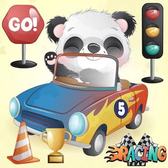Panda lindo del doodle con la ilustración del coche de carreras