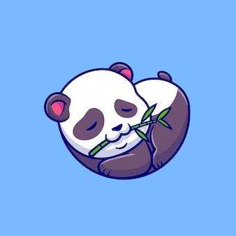Panda lindo durmiendo y comiendo bambú ilustración de dibujos animados. concepto de naturaleza animal aislado. estilo de dibujos animados plana
