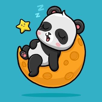 Panda lindo durmiendo en la luna de dibujos animados.