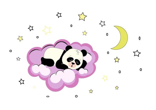 Panda lindo durmiendo en una nube violeta en el cielo con estrellas y luna