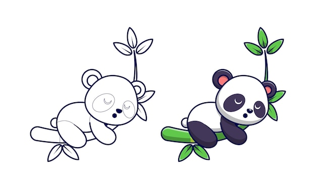 Panda lindo durmiendo en la página para colorear de dibujos animados de bambú para niños