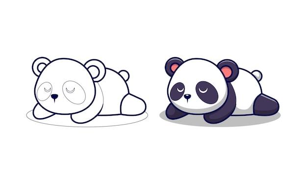 Panda lindo está durmiendo página para colorear de dibujos animados para niños