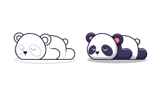Panda lindo está durmiendo páginas para colorear de dibujos animados para niños