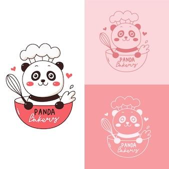Panda lindo de la historieta del logotipo para la tienda de la panadería.
