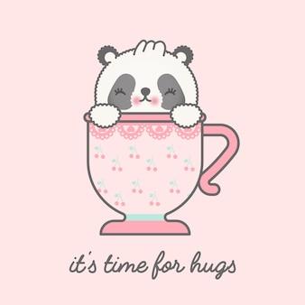 Panda lindo en la ilustración de la taza